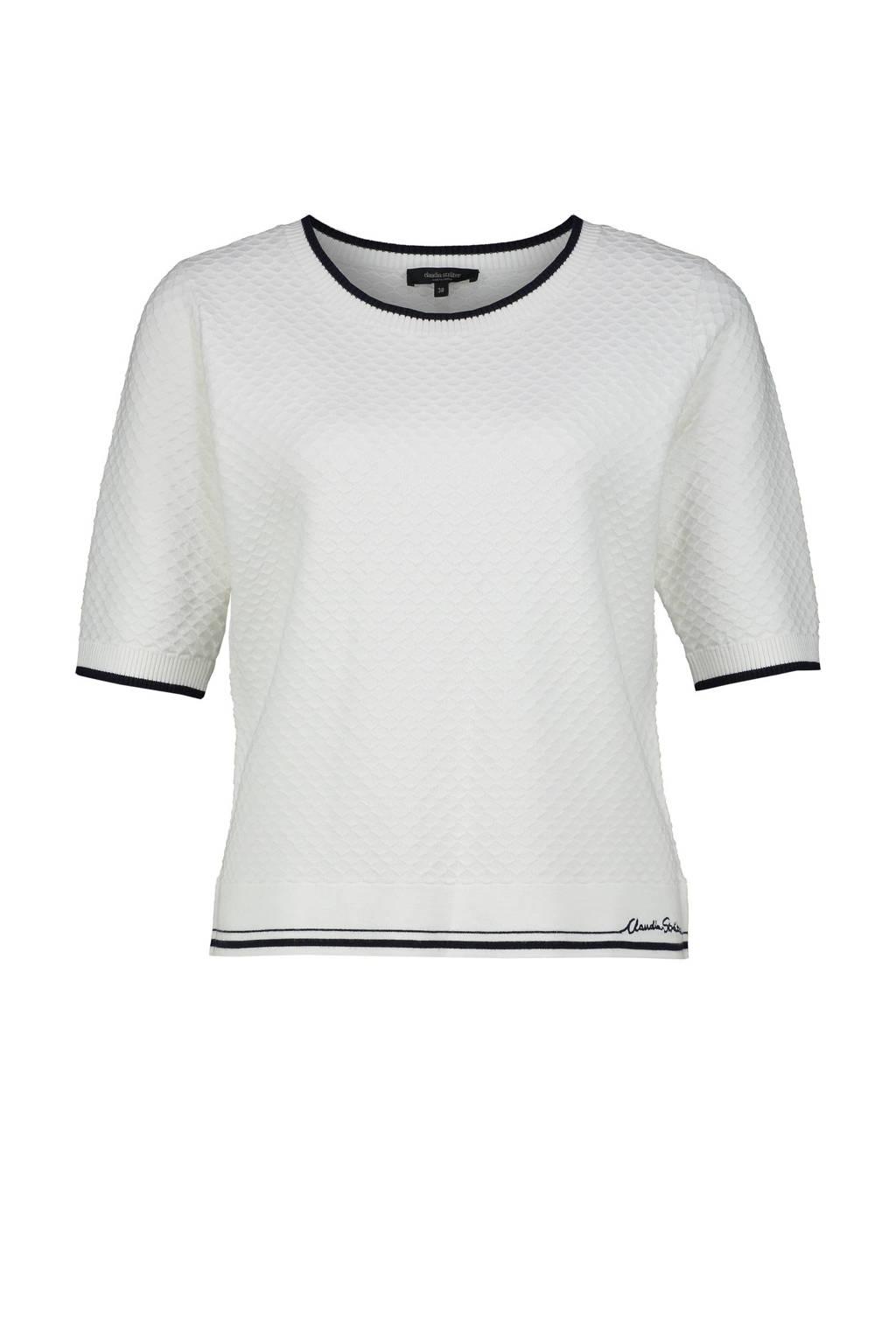 Claudia Sträter trui met contrastbies en borduursels wit/donkerblauw, Wit/donkerblauw
