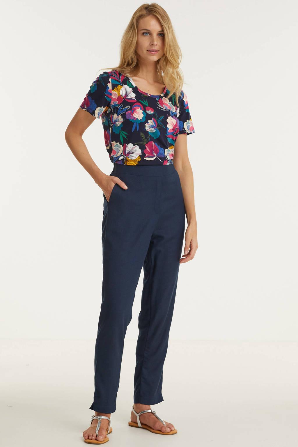 Imagine broek in linnenmix donkerblauw, Navy