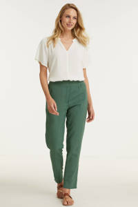 Imagine broek in linnenmix khaki, Khaki