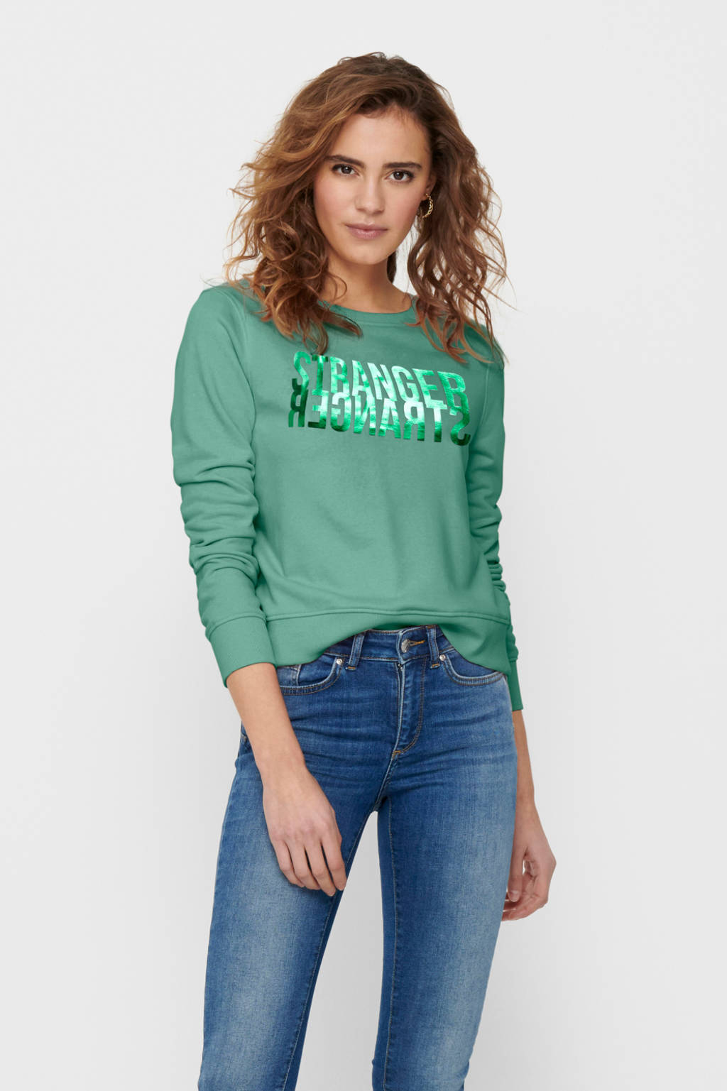 ONLY sweater ONLVILLA met printopdruk groen, Groen