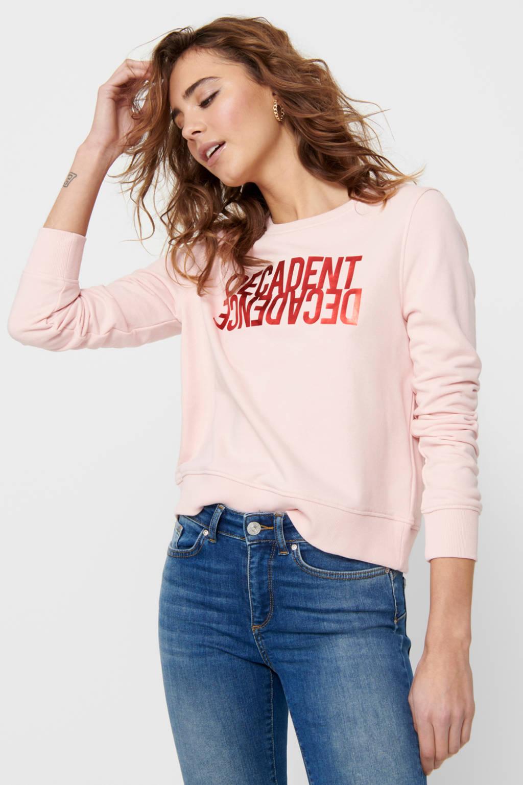 ONLY sweater ONLVILLA met printopdruk roze, Roze
