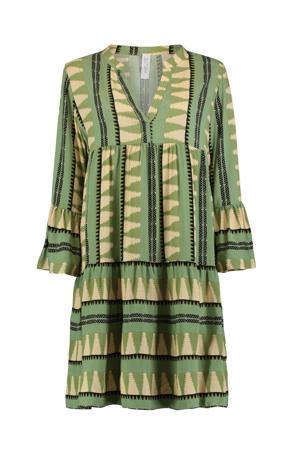 A-lijn jurk Lilian met all over print en plooien groen