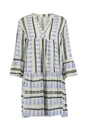 A-lijn jurk Lilian met all over print en plooien ecru/lila
