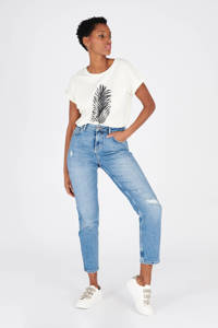 LOLALIZA cropped high waist slim fit jeans blauw, Blauw