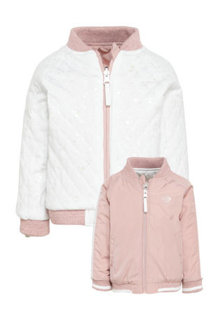 reversible bomber jacket lichtroze/wit