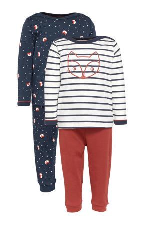 pyjama - set van 2 blauw/bruin/wit