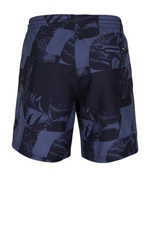 zwemshort Cali met all over print donkerblauw