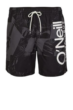 zwemshort Cali met all over print zwart/grijs