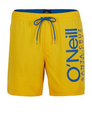 zwemshort Cali met logo geel/blauw
