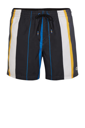 gestreepte zwemshort Horizon zwart/wit/geel