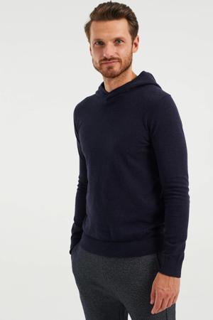 gebreide hoodie royal navy melange