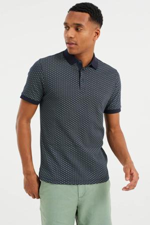 slim fit shirt met contrastbies heavy blue