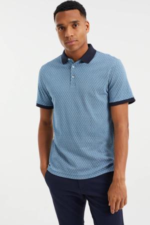 slim fit shirt met contrastbies blue ocean