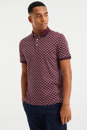 slim fit shirt met contrastbies garnet