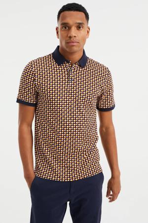slim fit shirt met contrastbies dark bloody mary