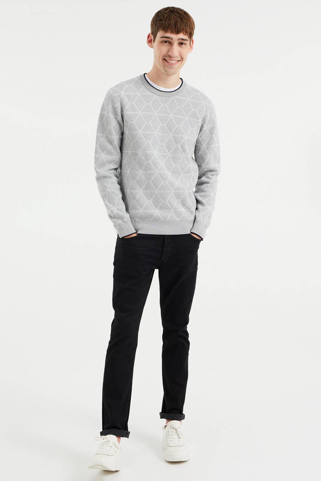 WE Fashion trui met all over print grey melange