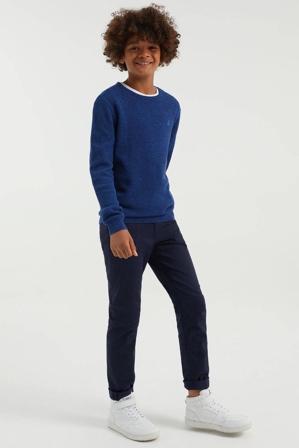 WE Fashion slim fit broek donkerblauw, Donkerblauw