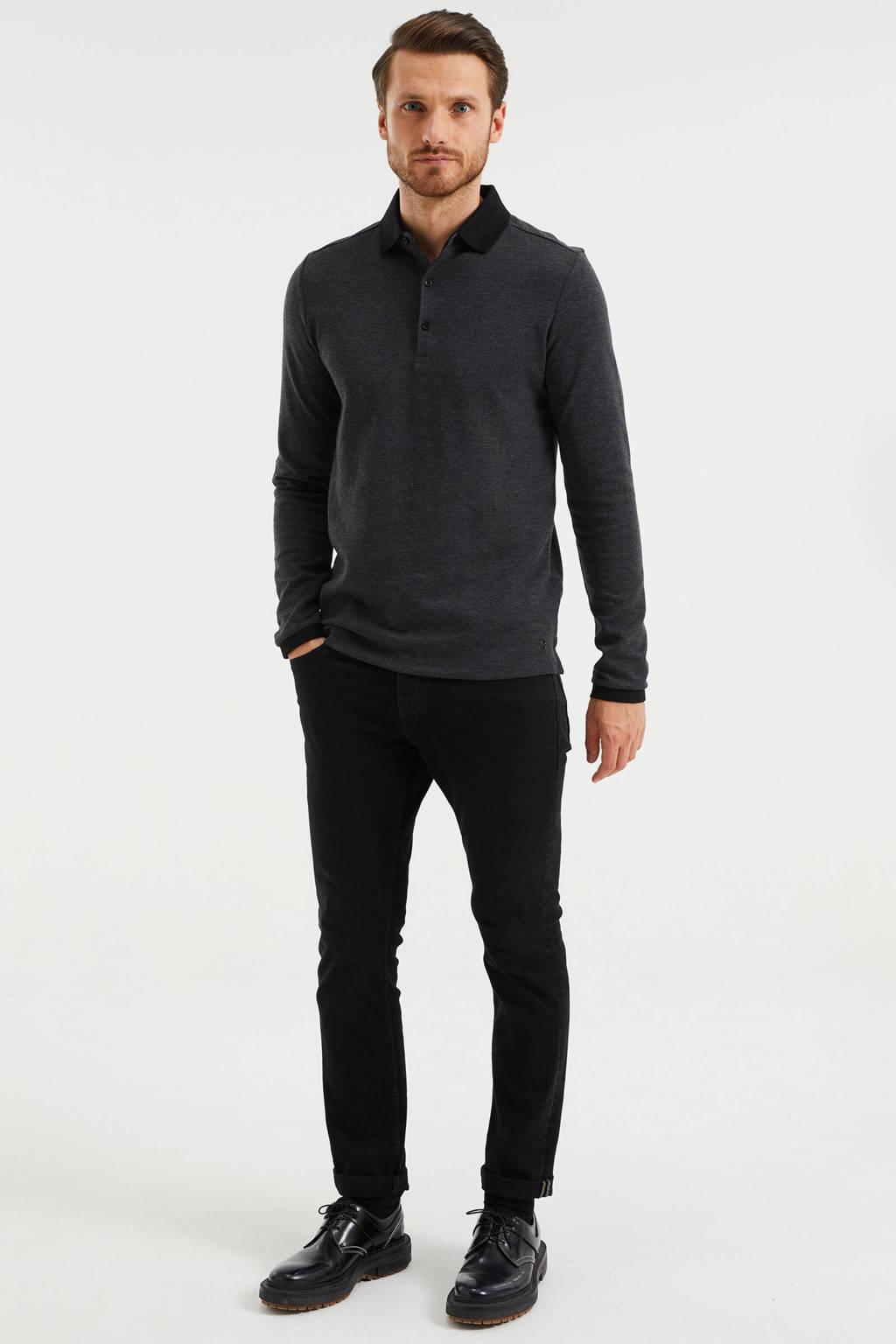 WE Fashion gemêleerde slim fit polo black melange, Black Melange
