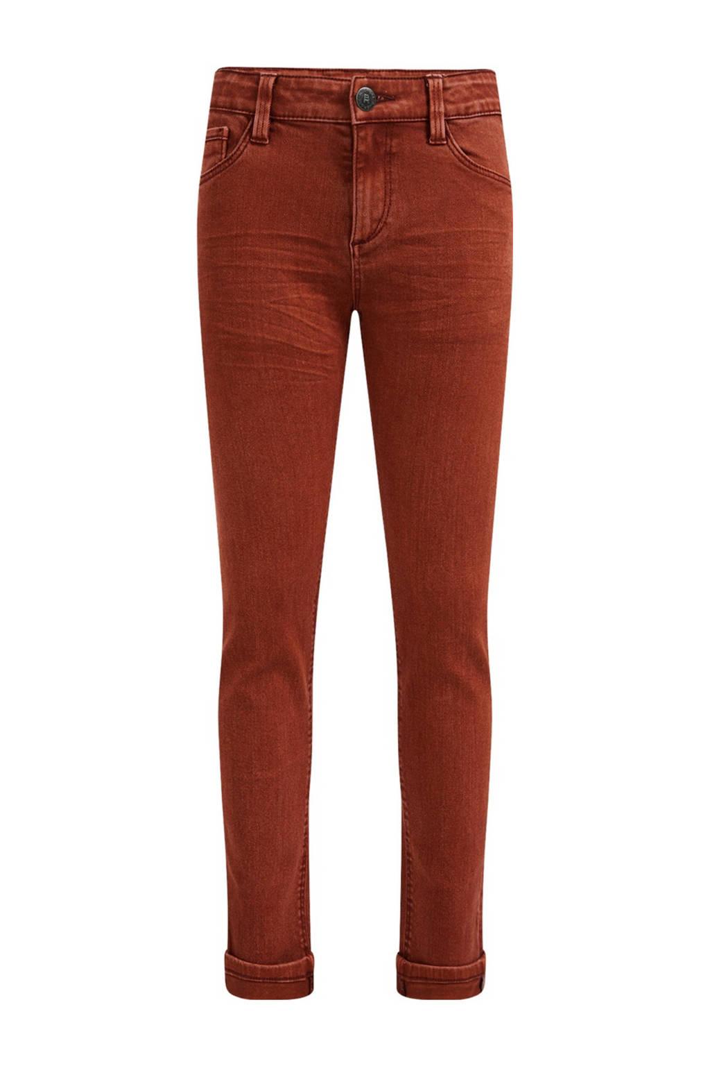 WE Fashion Blue Ridge slim fit broek bruin, Bruin