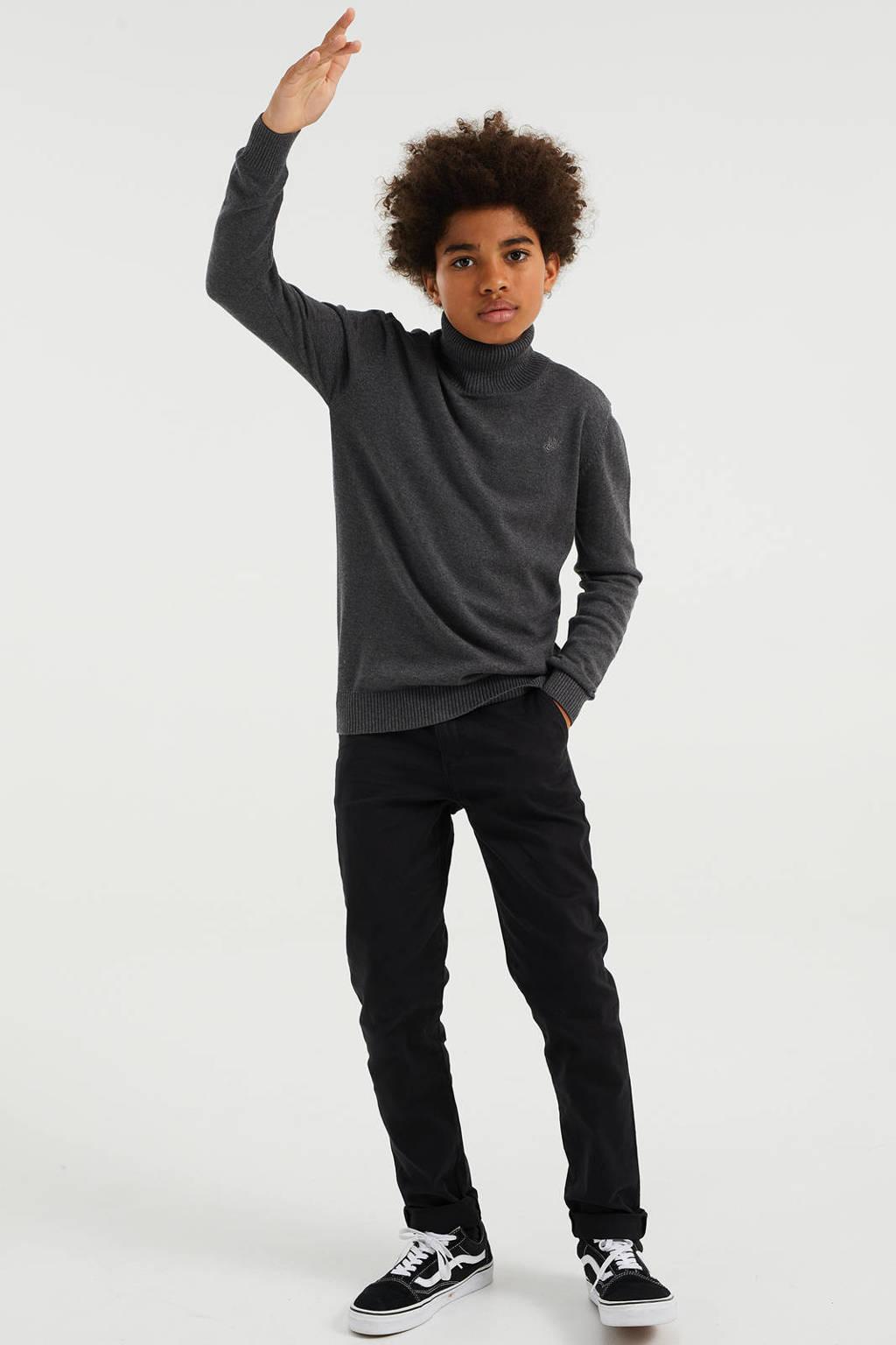 WE Fashion slim fit broek zwart, Zwart