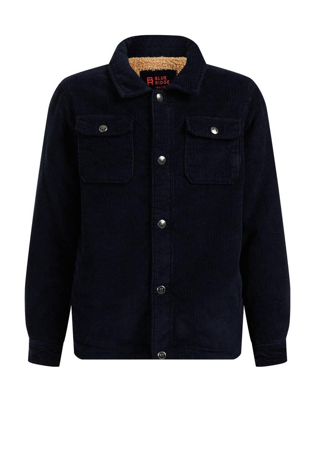 WE Fashion Blue Ridge corduroy jack donkerblauw, Donkerblauw