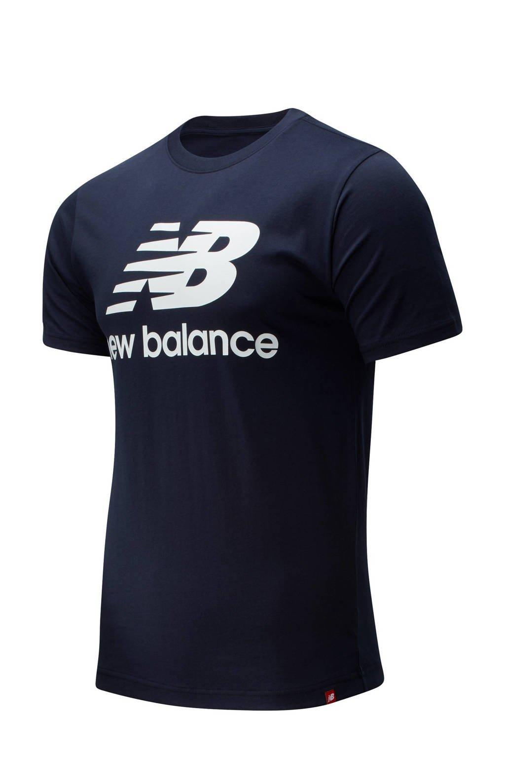 New Balance T-shirt donkerblauw/wit, Donkerblauw/wit