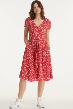 A-lijn jurk Haiku met all over print en ceintuur rood