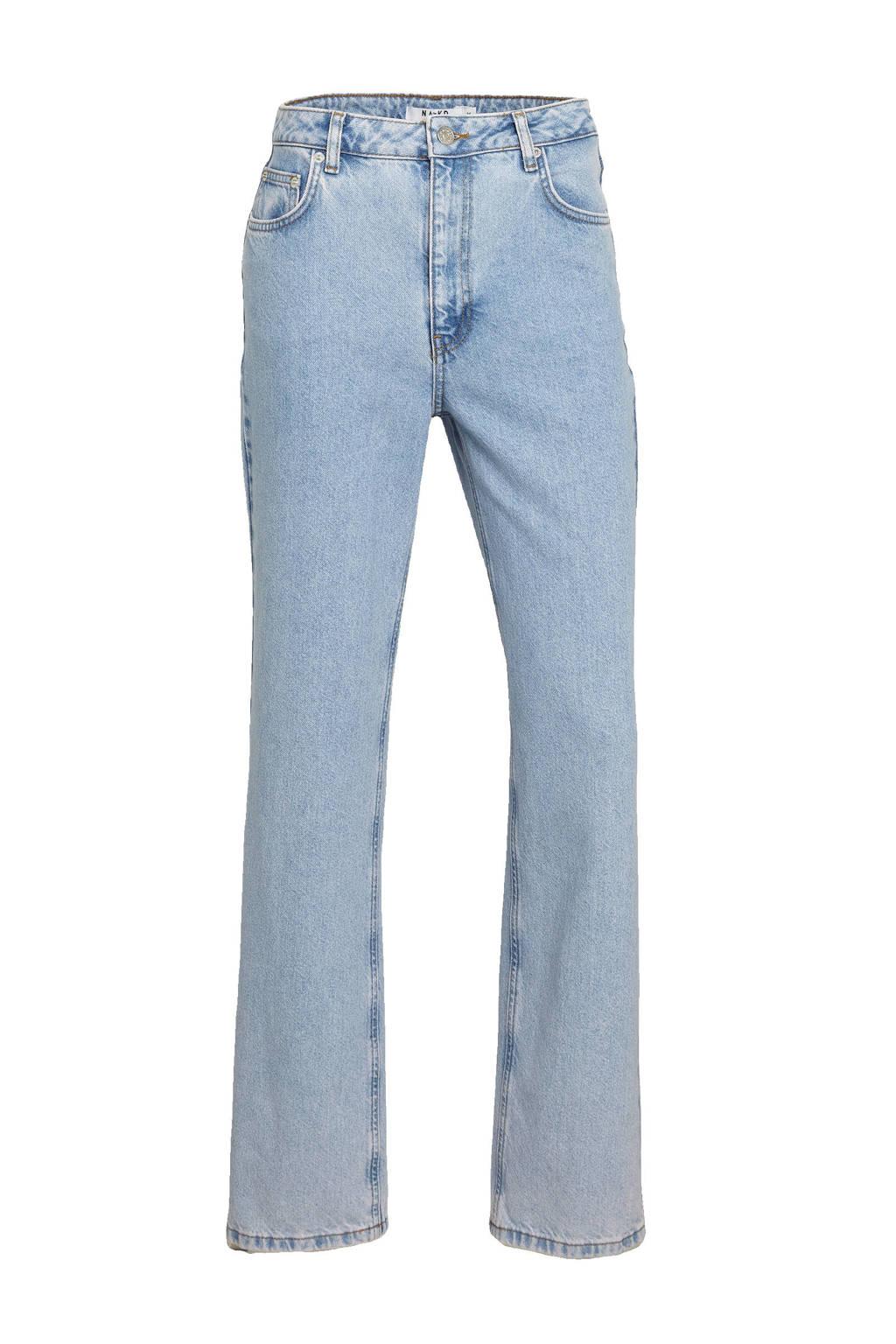 NA-KD high waist straight fit jeans lichtblauw, Lichtblauw