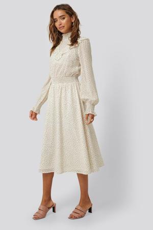 semi-transparante A-lijn jurk met stippen en ruches wit