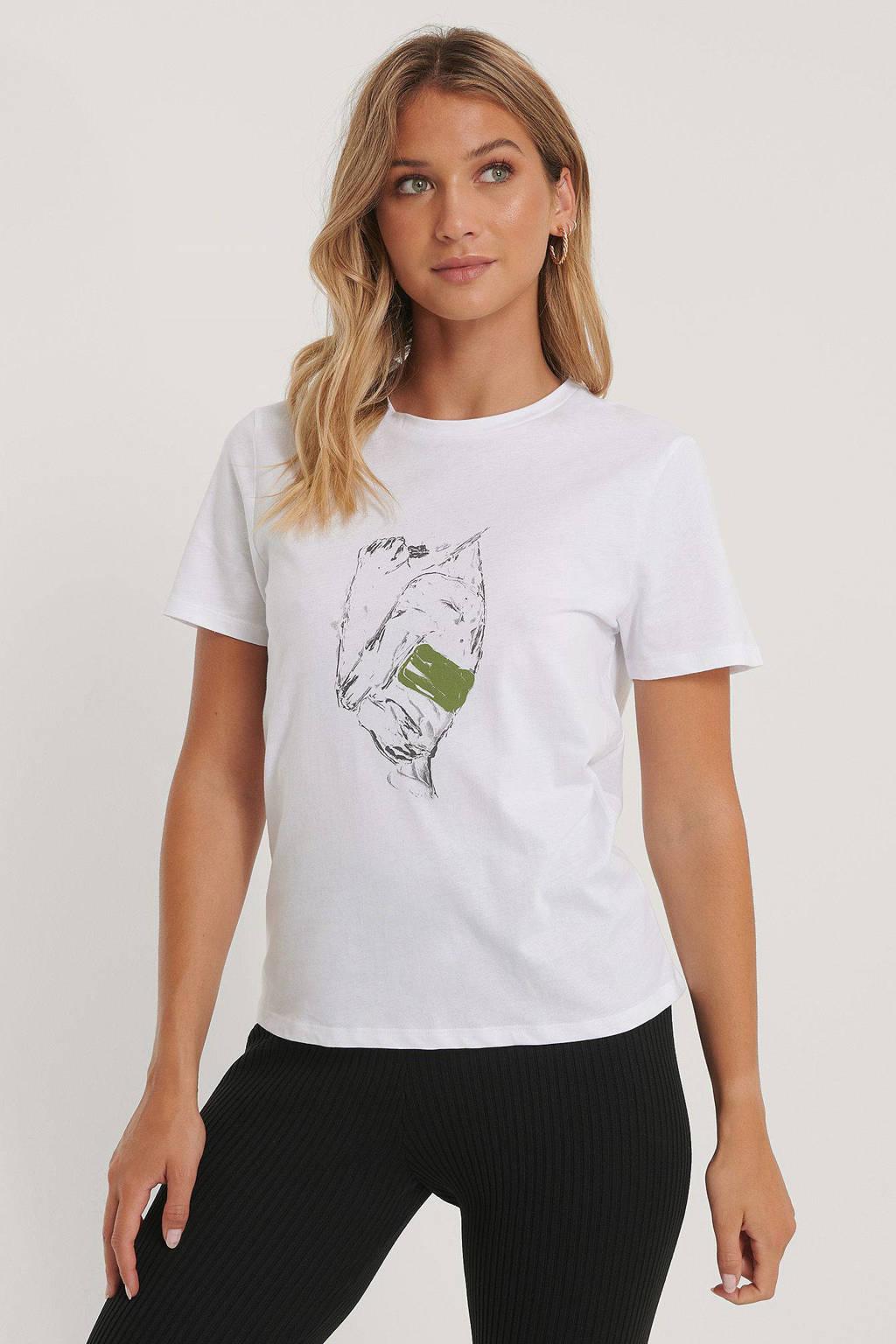 NA-KD T-shirt met printopdruk wit, Wit