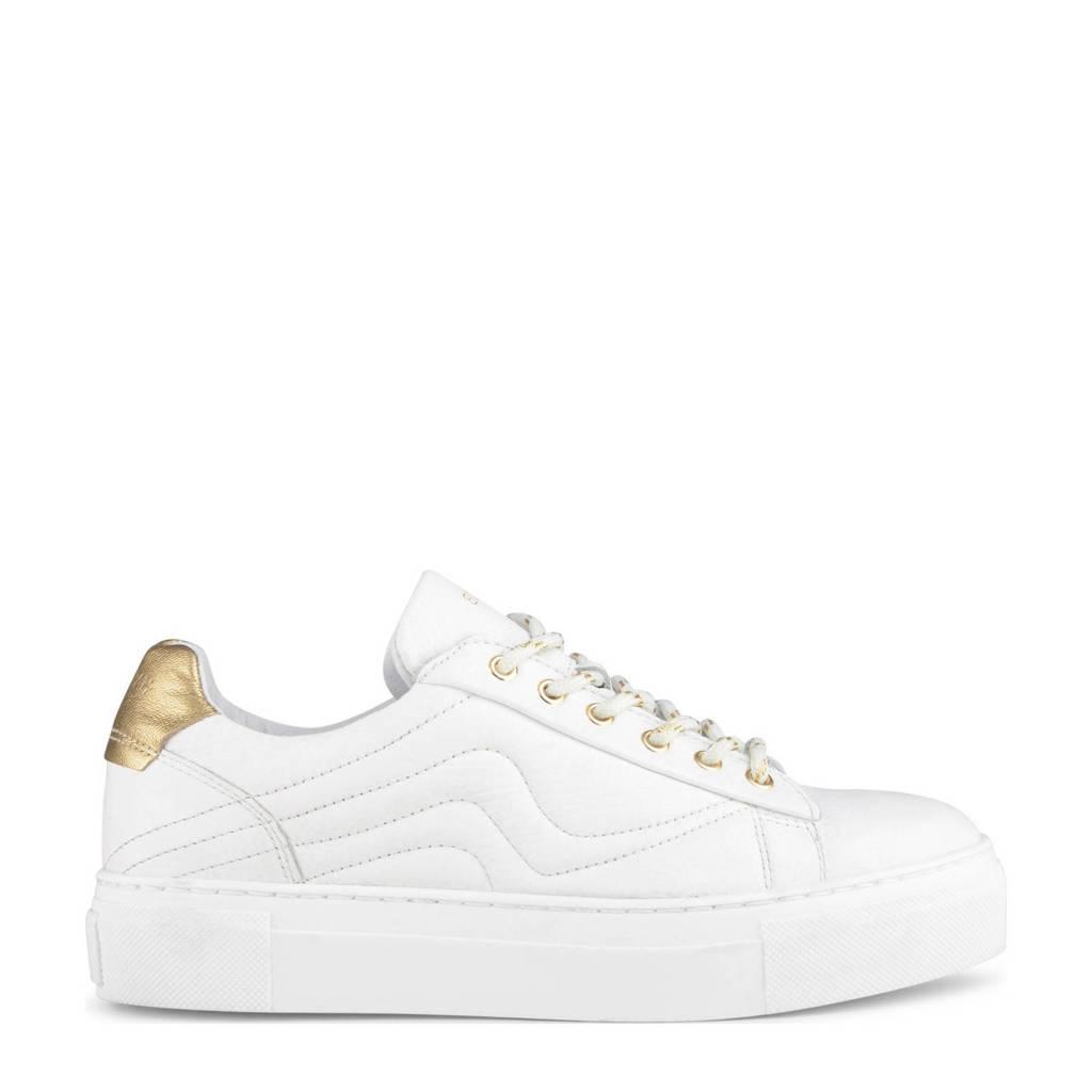 Haboob Jasper  leren plateau sneakers wit, Wit/goud
