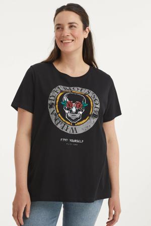T-shirt CARKIAN met printopdruk zwart/geel/grijs
