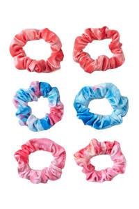 Sarlini velvet scrunchies - set van 6 roze/blauw, Roze/blauw