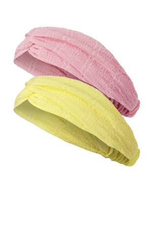 haarband - set van 2 roze/geel