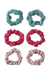 Sarlini scrunchies - set van 6 roze/blauw, Roze/blauw