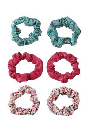 scrunchies - set van 6 roze/blauw