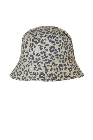 bucket hat met panterprint beige
