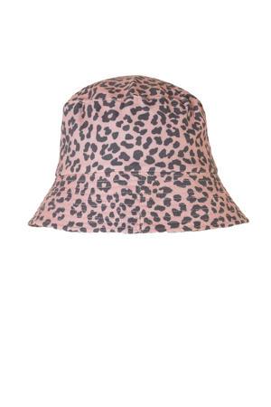 bucket hat met panterprint roze