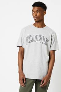 America Today T-shirt Emerson Iconic met tekst grey melange