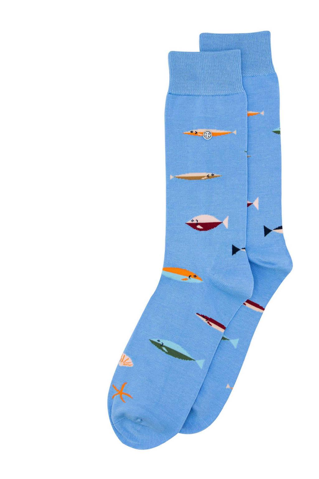 Alfredo Gonzales sokken Fish lichtblauw, Lichtblauw
