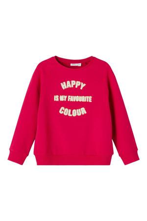 sweater NMFLAKIND met tekst fuchsia rood