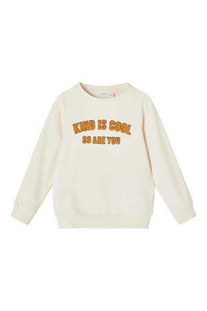 sweater Lakind met tekst ecru/okergeel