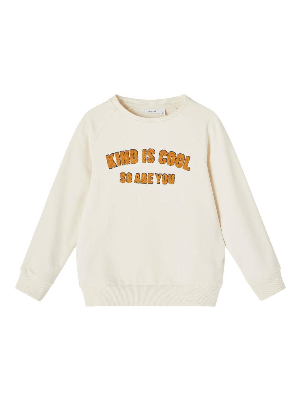NAME IT MINI sweater NMMLAKIND met tekst ecru/okergeel, Ecru/okergeel