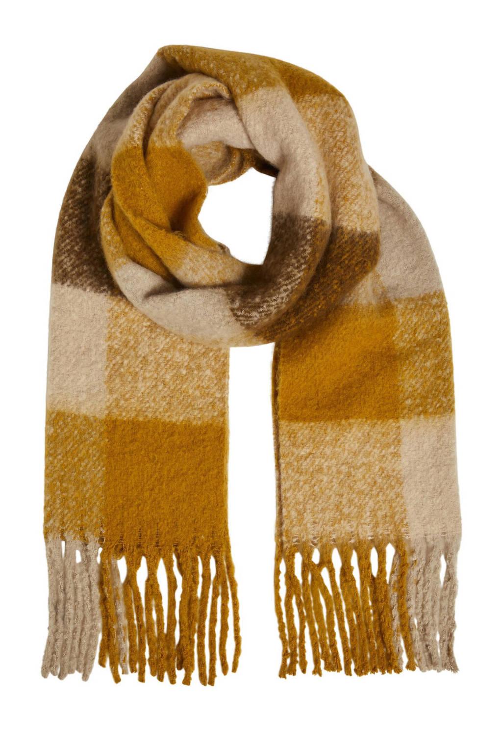 OBJECT geruite sjaal OBJMITTA okergeel/bruin, Okergeel/bruin