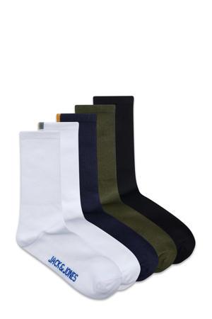 sokken Thor - set van 5 wit/donkerblauw