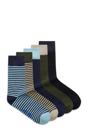 sokken Jan - set van 5 donkerblauw/kaki