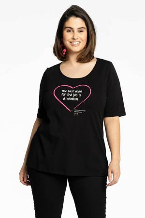 T-shirt met printopdruk zwart/wit/roze