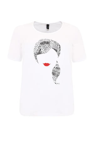 T-shirt met printopdruk wit/zwart/rood