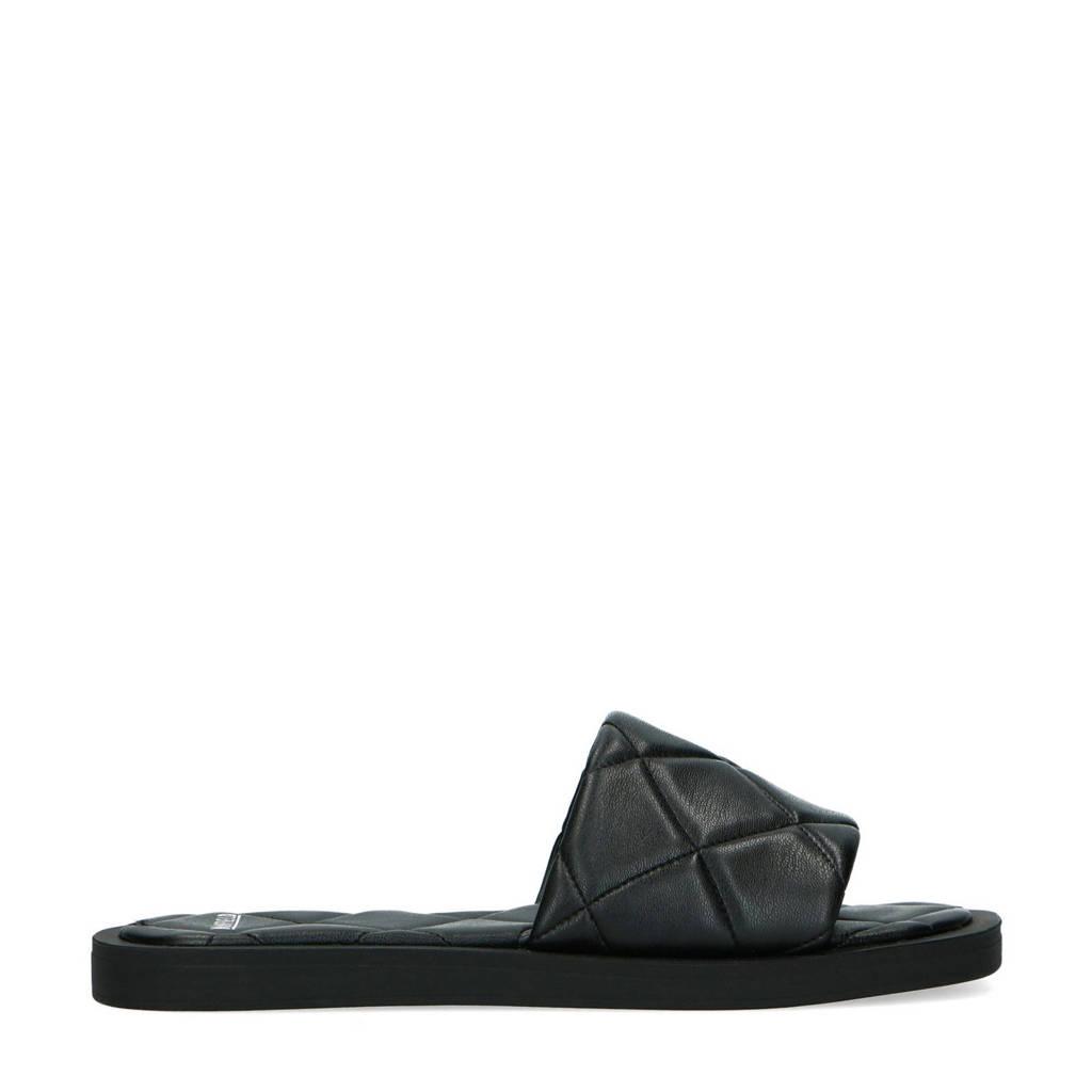 Manfield   slippers zwart, Zwart