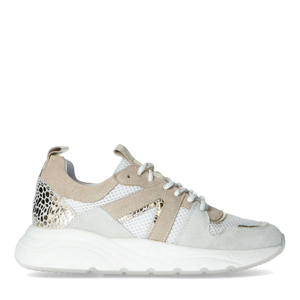 suède sneakers wit/beige
